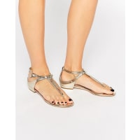 AldoDora Toepost Flat Sandals - Gold