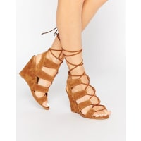 AldoRothbaum Cognac Ghillie Wedge Gladiator Sandals