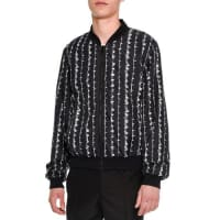 Alexander McQueenBarbed-Wire Print Bomber Jacket, Black/White