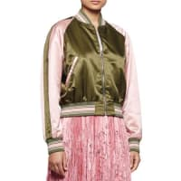 Alexander McQueenBaseball Two-Tone Bomber Jacket, Khaki/Fox Glove