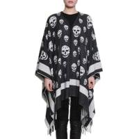 Alexander McQueenBig Skull Wool-Blend Cape, Black/Ivory