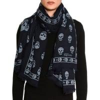 Alexander McQueenBig Skull Wool-Blend Scarf, Navy/Blue
