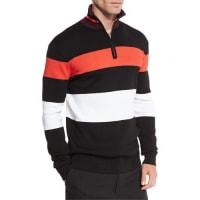 Alexander McQueenColorblock Stripe 1/4-Zip Pullover, Darkest Black