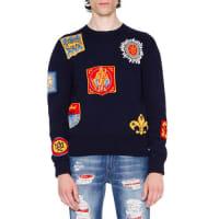 Alexander McQueenCrest Intarsia Sweater, Navy