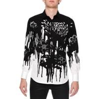 Alexander McQueenDripping Flower-Print Woven Shirt, Black/White