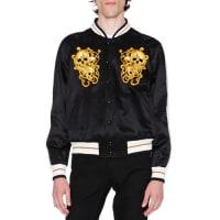 Alexander McQueenEmbroidered Skulls Silk Varsity Jacket, Black