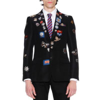 Alexander McQueenEngineered Jacquard Blazer w/Patches, Black