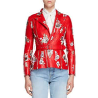 Alexander McQueenFloral-Embroidered Leather Jacket, Red