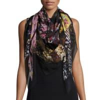 Alexander McQueenFloral Ruffle Silk Chiffon Scarf, Black/Multicolor