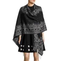Alexander McQueenFringe Wool Tapestry Cape, Black/White