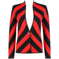 Alexander McQueenGivenchy Couture A/w 1998 Alexander Mcqueen Black Red Stripe Wool Knit Blazer