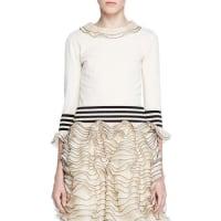 Alexander McQueenKnit Ruffle-Trim Sweater, Ivory