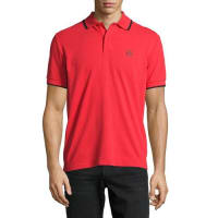 Alexander McQueenLogo Polo Shirt with Contrast Tipping, True Red