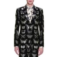 Alexander McQueenMoth-Jacquard Blazer, Black/Silver