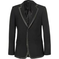 Alexander McQueenBlack Print-trimmed Wool And Mohair-blend Blazer - Black