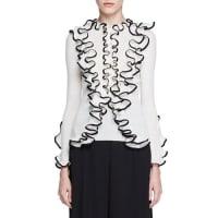 Alexander McQueenRuffled-Trim Wool Henley Top, Ivory/Black