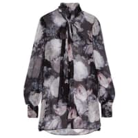 Alexander McQueenPussy-bow Floral-print Silk-crepon Blouse - Black
