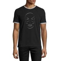 Alexander McQueenSkull-Cutout Ringer T-Shirt, Black/Gray