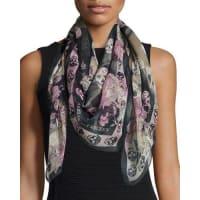 Alexander McQueenSkull & Hummingbird Silk Scarf, Black/Pink