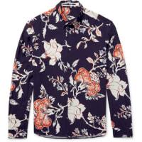 Alexander McQueenSlim-fit Floral-print Voile Shirt - blue
