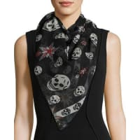 Alexander McQueenStar & Skull Silk Scarf, Black/White