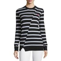 Alexander McQueenStriped Wool Crewneck Sweater, Black/White