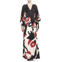Alexander McQueenAbstract Floral-Print Kimono Gown, Black Mix