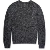 Alexander WangRibbed Mélange Cotton-blend Sweater - Storm blue