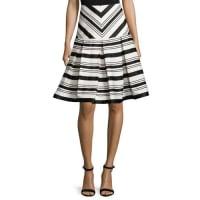 AlexisEmmerson Striped Box-Pleat Skirt, Black/White