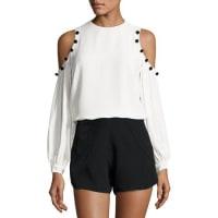 AlexisErica Button-Trim Cold-Shoulder Top