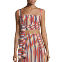 AlexisFrederick Silk Striped Crop Top, Multicolor