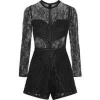 AlexisJacob Lace And Tulle Playsuit - Black