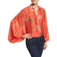 AlexisNicolette Blooming Batwing-Sleeve Blouse, Red