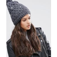 Alice HannahCable Knit with Gem Beanie - Charcoal