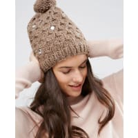 Alice HannahCappello in maglia con lavorazione a trecce e gemme - Grigio