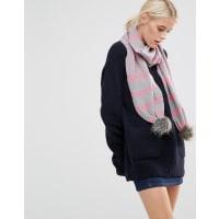 Alice HannahSeed Stitch Stripe with Fur Trim Scarf - Cloud/candy
