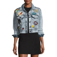 Alice & OliviaChloe Cropped Denim Jacket with Patches, Light Blue