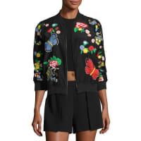 Alice & OliviaFelisa Embroidered Bomber Jacket, Black Multicolor