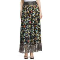 Alice & OliviaKamryn Floral Fringe-Trim Maxi Skirt, Black/Multicolor