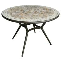 AlinéaFez Table de jardin fixe en céramique et marbre