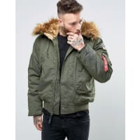Alpha IndustriesBomber Jacket With Faux Fur Trim In Regular Fit Dark Green - Gr1 - green 1