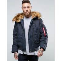 Alpha IndustriesBomber Jacket With Faux Fur Trim In Regular Fit Navy - Ny1 - navy 1