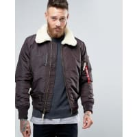 Alpha IndustriesBomber Jacket With Sheep Fur Collar In Slim Fit Brown - Br1 - brown 1