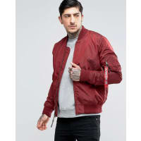 Alpha IndustriesMA-1 Bomber Jacket Slim Fit In Burgundy - Red