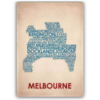 AmericanflatMelbourne Typography Map Print Art