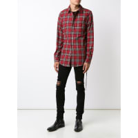 Amirilace detail plaid shirt, Mens, Size: Small, Red, Cotton/Polyester