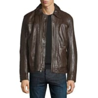 Andrew MarcOutpost Leather Bomber Jacket, Espresso