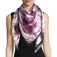 Anna CoroneoFerns Square Silk Scarf, Ruby