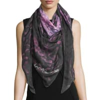 Anna CoroneoFloral Voile Square Scarf, Pink/Navy