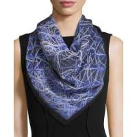 Anna CoroneoSpiky Cactus Square Silk Scarf, Blue